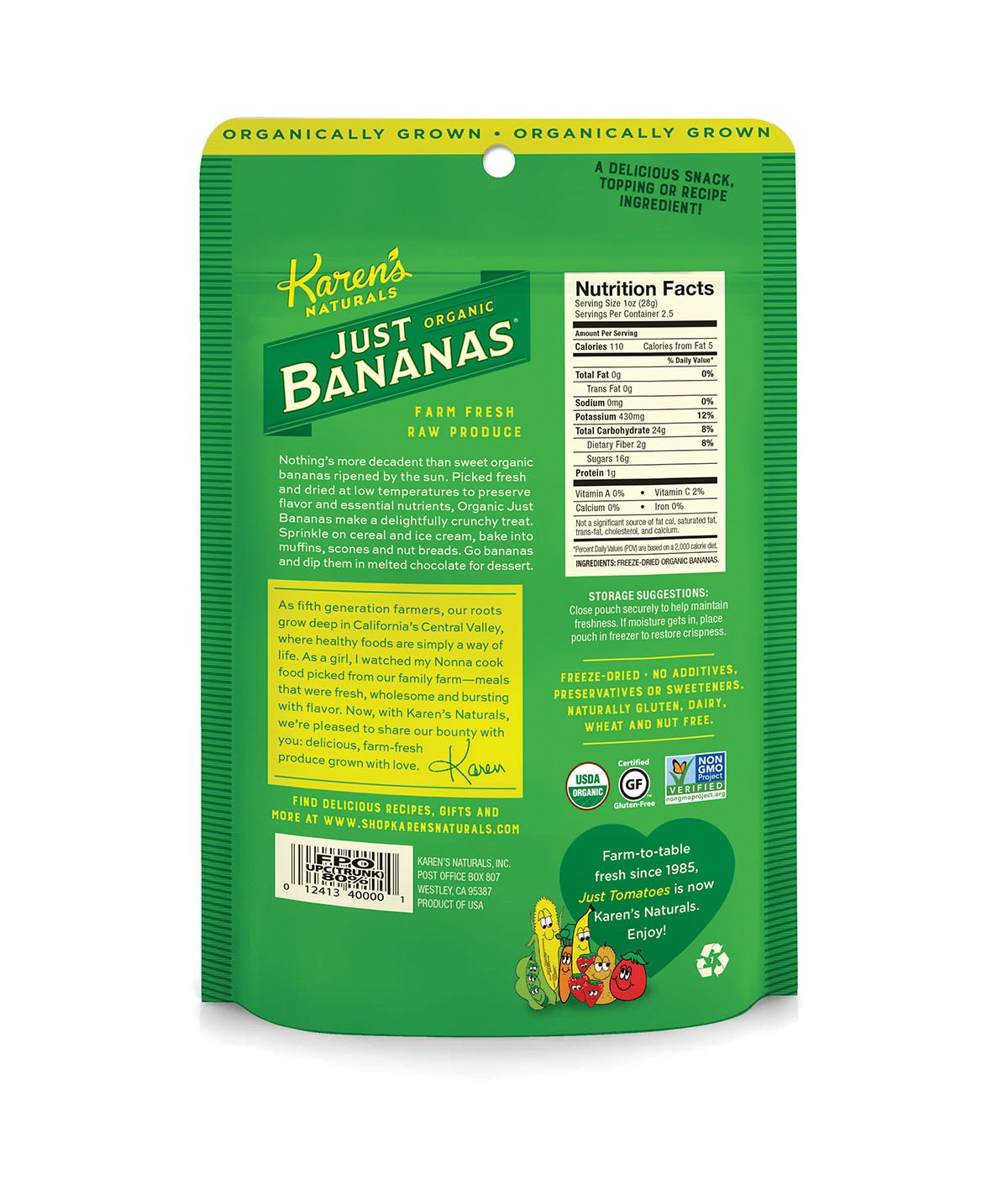 Karens Naturals Organic Just Banana, 2.5 Ounce Pouch (Packaging May Vary) Organic All Natural Freeze-Dried Fruits & Vegetables, No Additives or ...