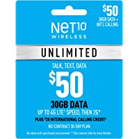 Net10 Wirelss $50 Unlimited 10GB Plan Refill Card (Mail Delivery)