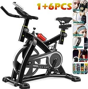 YYBF Bicicleta Estática De Spinning Profesional, Bicicleta Spinning Indoor, Ajustable Resistencia, Pulsometro, Ergonómica, Cardio Trainer, Gift Set 6 Piezas: Amazon.es: Hogar