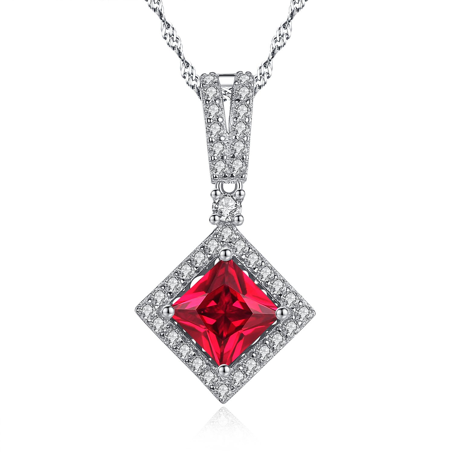 Mabella Princess Cut Simulated Ruby Halo Necklace Cubic Zirconia with 925 Sterling Silver Pendant, Elegant Jewelry Gift for Women