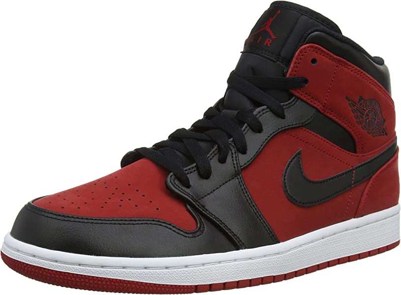 low cost 10203 99ee5 Nike Jordan Mens Air Jordan 1 MID Synthetic Leather Gym Red Black Trainers  10 US
