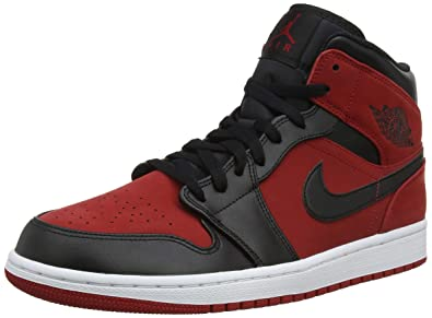 4f6ab8e474144c Nike Jordan Mens Air Jordan 1 MID Synthetic Leather Gym Red Black Trainers  10.5 US