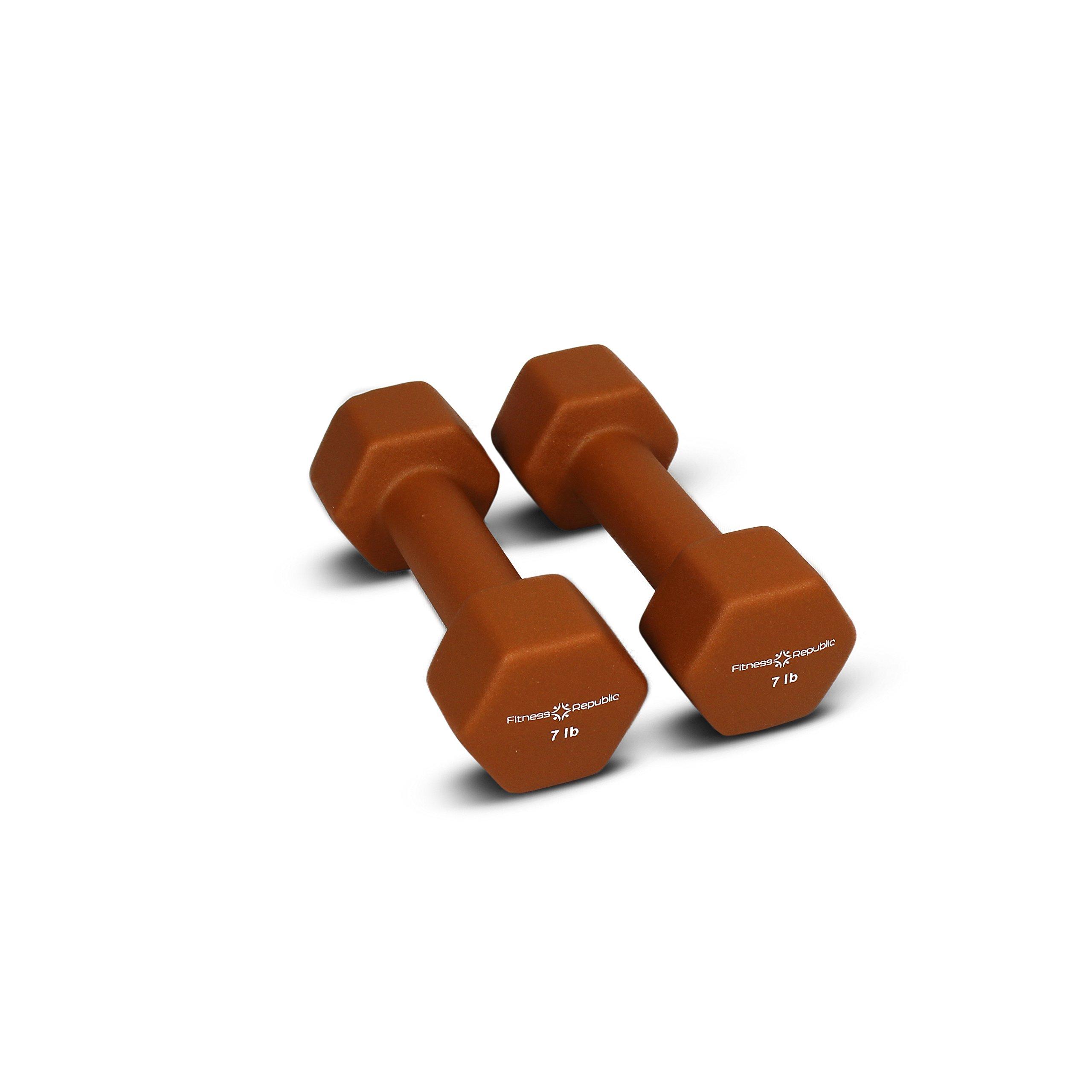 Fitness Republic Neoprene Dumbbells 7 lbs Set (Neoprene Weights)