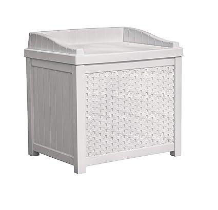 Amazoncom Suncast Ssw1200w White Wicker 22 Gallon Storage Seat