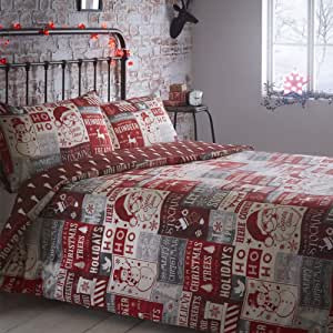 Portfolio Christmas Scrapbook Quilt Duvet Cover and 2 Pillowcases Bedding Bed Set, Red, Double