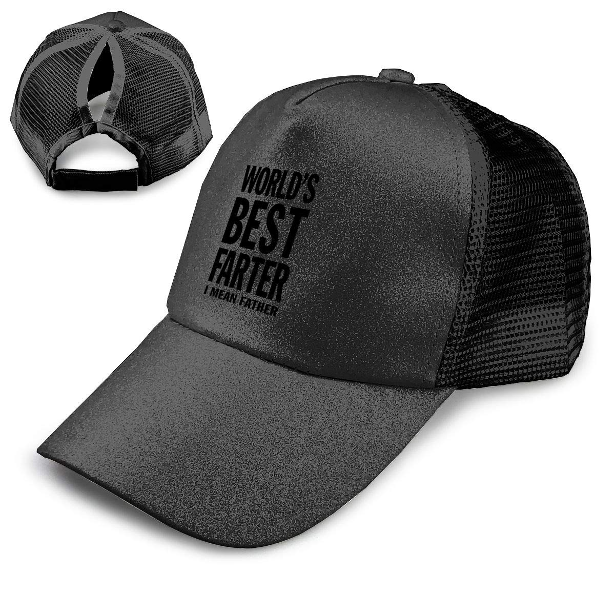 Worlds Best Farter I Mean Father Funny Gift for Dad Ponytail Messy High Bun Hat Ponycaps Baseball Cap Adjustable Trucker Cap Mesh Cap