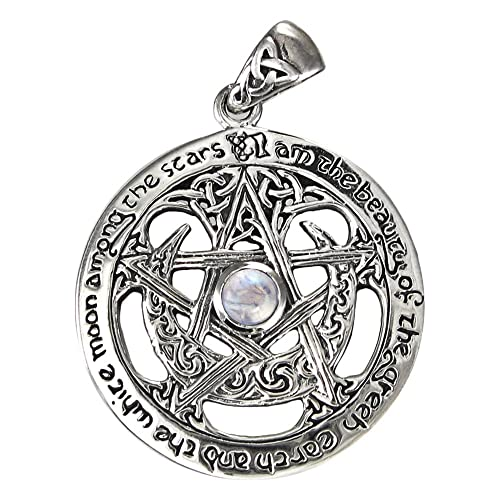 Sterling Silver Large Moon Goddess Wiccan Pentacle Pendant Natural Rainbow Moonstone 1.25 Inch Diameter