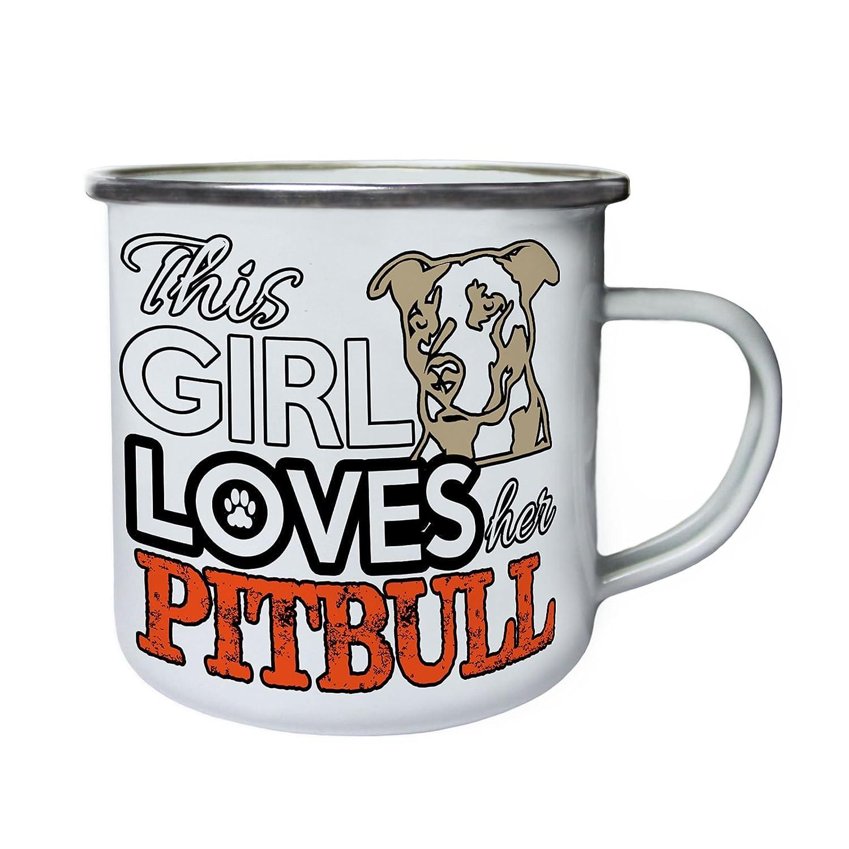 Thi Chica ama a su Pitbull Retro, lata, taza del esmalte 10oz/280ml z876e INNOGLEN