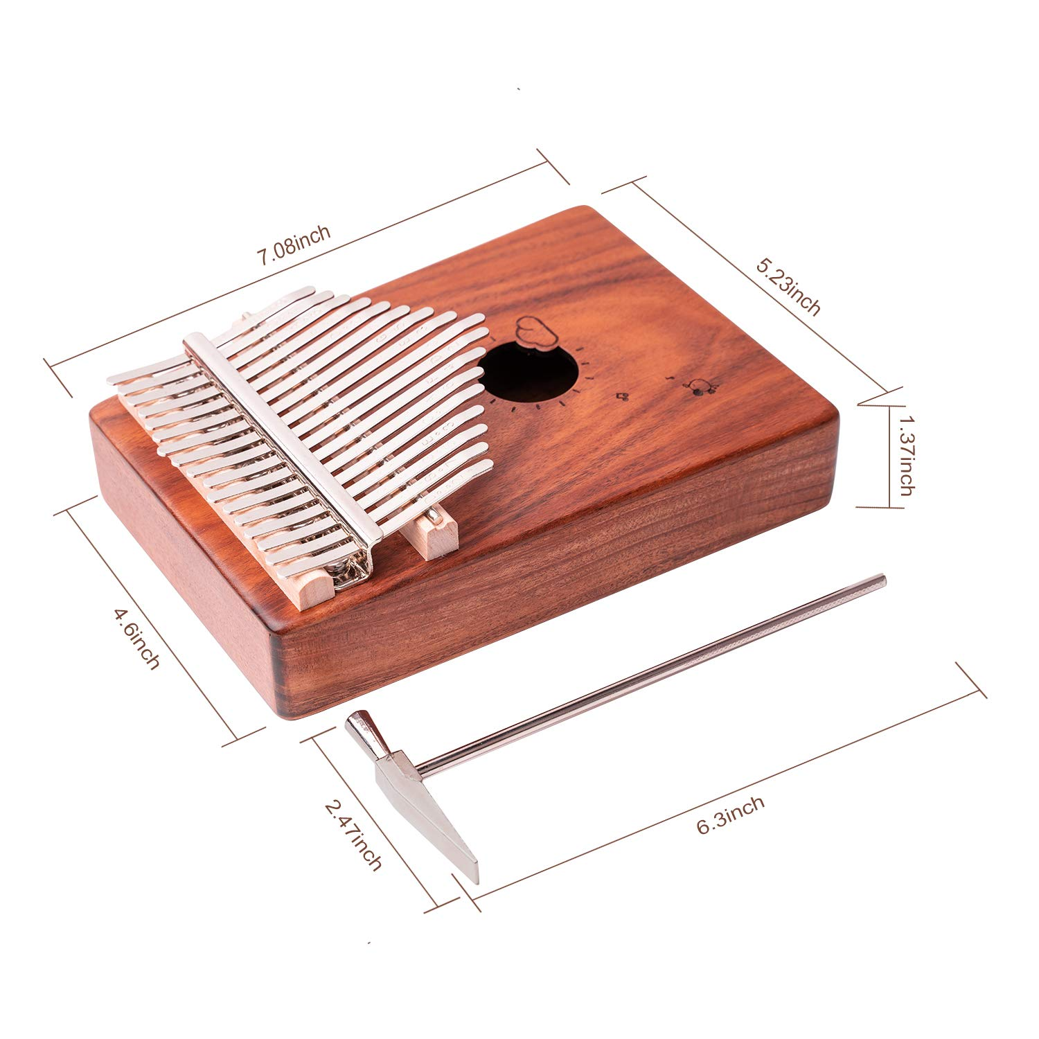 Kalimba 17 Keys Thumb Piano Solid Wood Finger Piano Musical Instrument with Study Instruction,Tuning Hammer,Gift for Kids Adult Beginners Professional without any musical basis(Dark Brown) by Tripolar (Image #7)