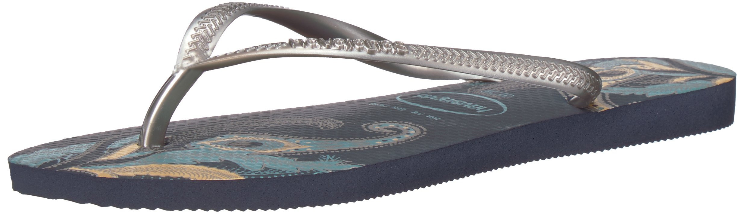 Havaianas Women's Slim Organic Flip Flop Sandals, Floral Design, Navy Blue/Silver, 37/38 BR (7-8 M US)
