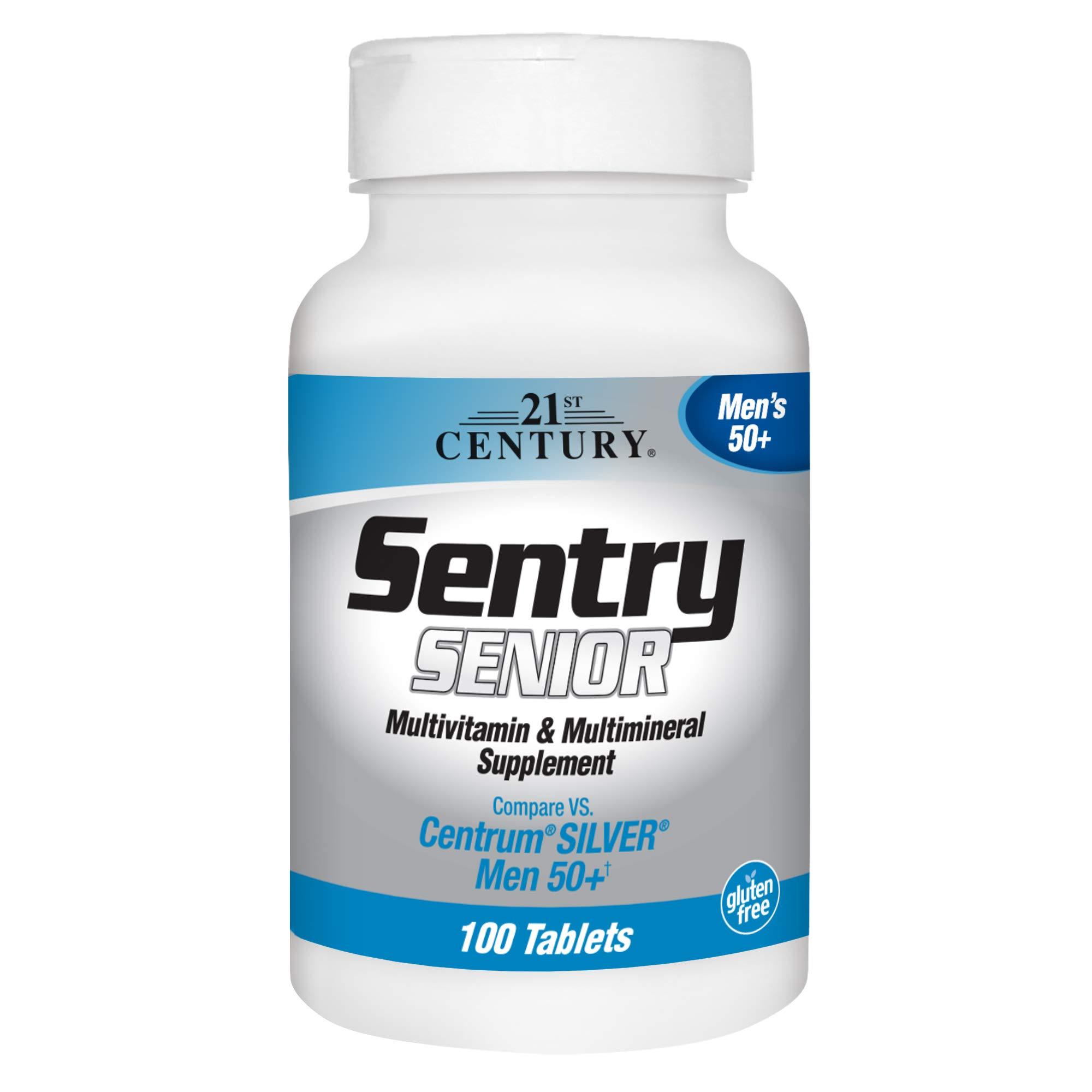 21st Century Sentry Senior Men 50Plus Tablets, White Unscented 100 Count