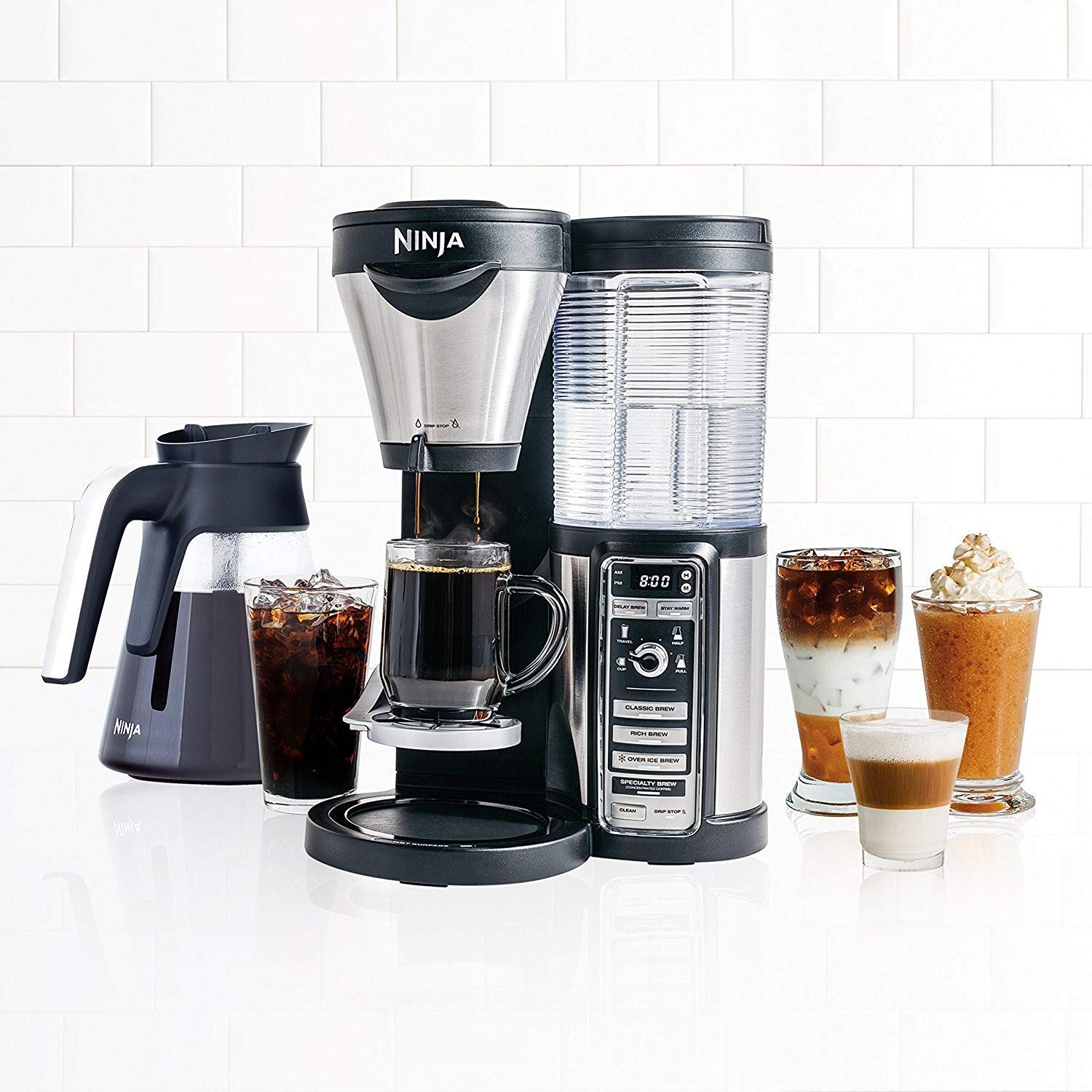 Ninja Coffee Bar with Glass Carafe and Auto-iQ One Touch Intelligence – CF080 Renewed