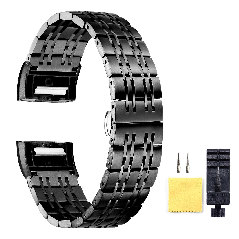 交換ステンレススチール腕時計ストラップfor Fitbit Charge 2クイックリリースブラック時計バンド18 mm ブラック  ブラック B07DB8Z2V7