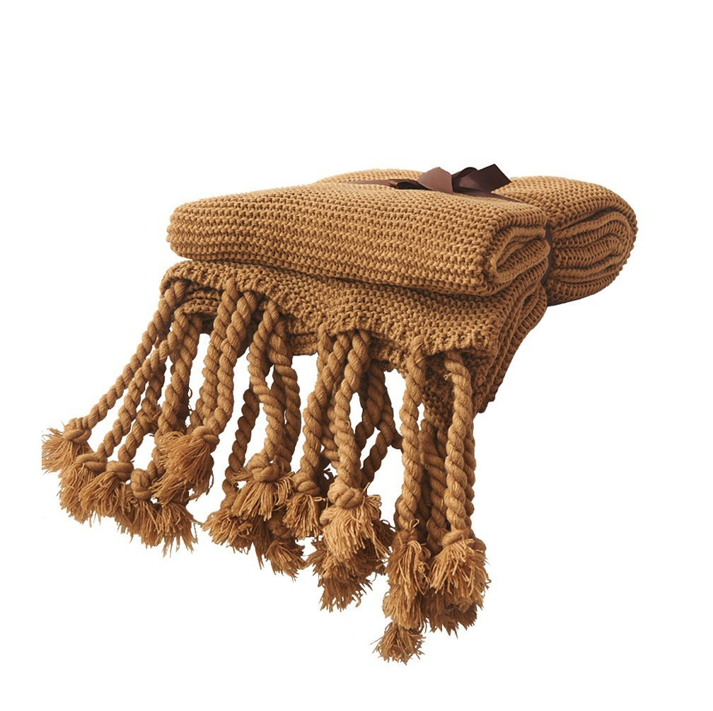 LakeMono Knit Throw Blanket, Household Decorative Tassel Crochet Blanket Rug Bedroom Sofa/Bed/Couch/Car/Living Room/Office (51.18'' W×62.99'' L, Coffee)
