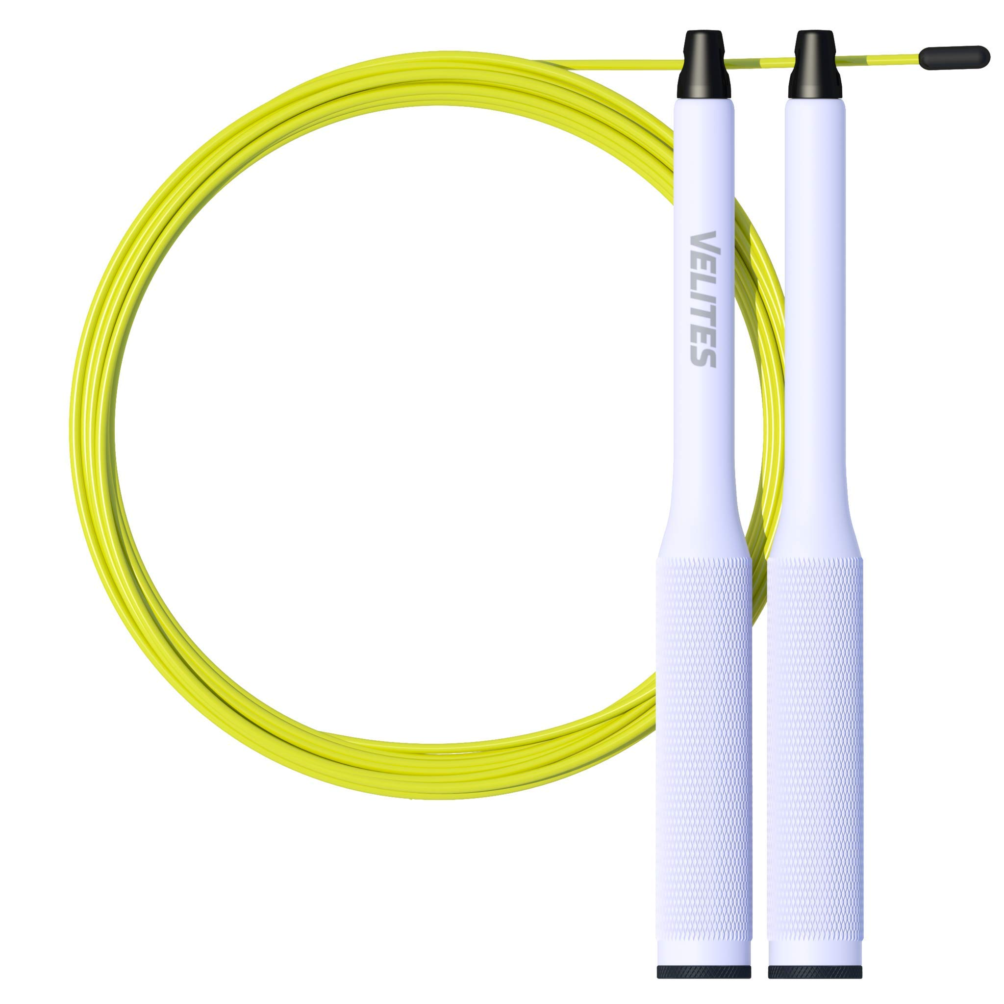 Velites Balanced Jump Rope for Crossfit, Boxing and Fitness Fire 2.0 Ideal for Double Jumps | Aluminum Speed Rope (ballasts not Included) (Silver)