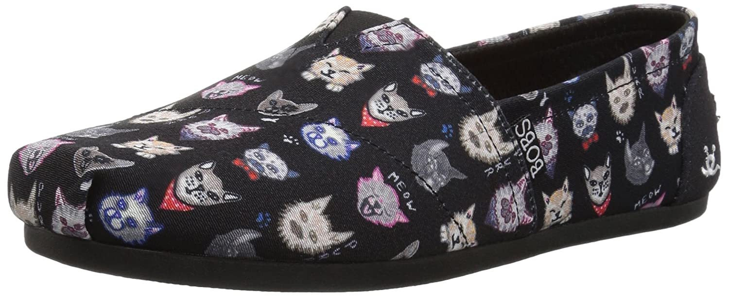 bcf1f985cbb7e Skechers BOBS Women's Bobs Plush-Dapper Cats Ballet Flat, Black, 5 M US