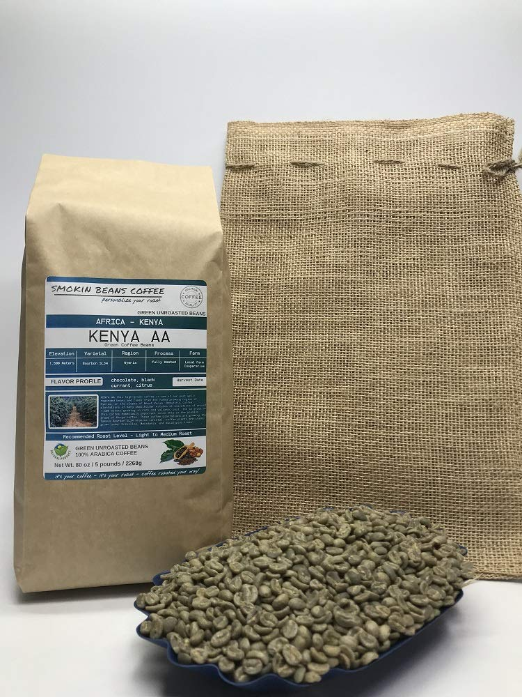 5 Pounds - Northern Africa - Kenya - Unroasted Arabica Green Coffee Beans - Grown In Region Nyeria - Altitude 1500M - Varietals Bourbon,SL34 - Drying/Milling Process Fully Washed - Includes Burlap Bag by Smokin Beans