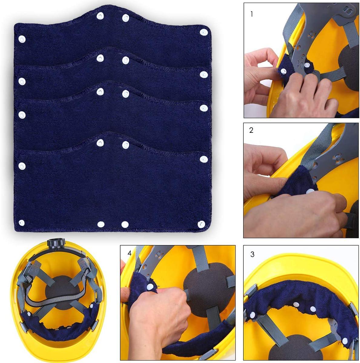 Josopa Hard Hat Sweatband Washable Hardhat Sweatband Liner Snap Absorb Sweat Band Hard Hat Accessories 6 Pack
