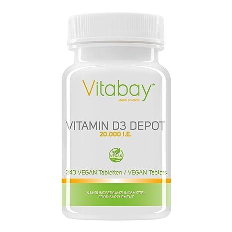 Vitamina D3Depot 20.000UI, solo 1 pastilla vegana cada 20 dí