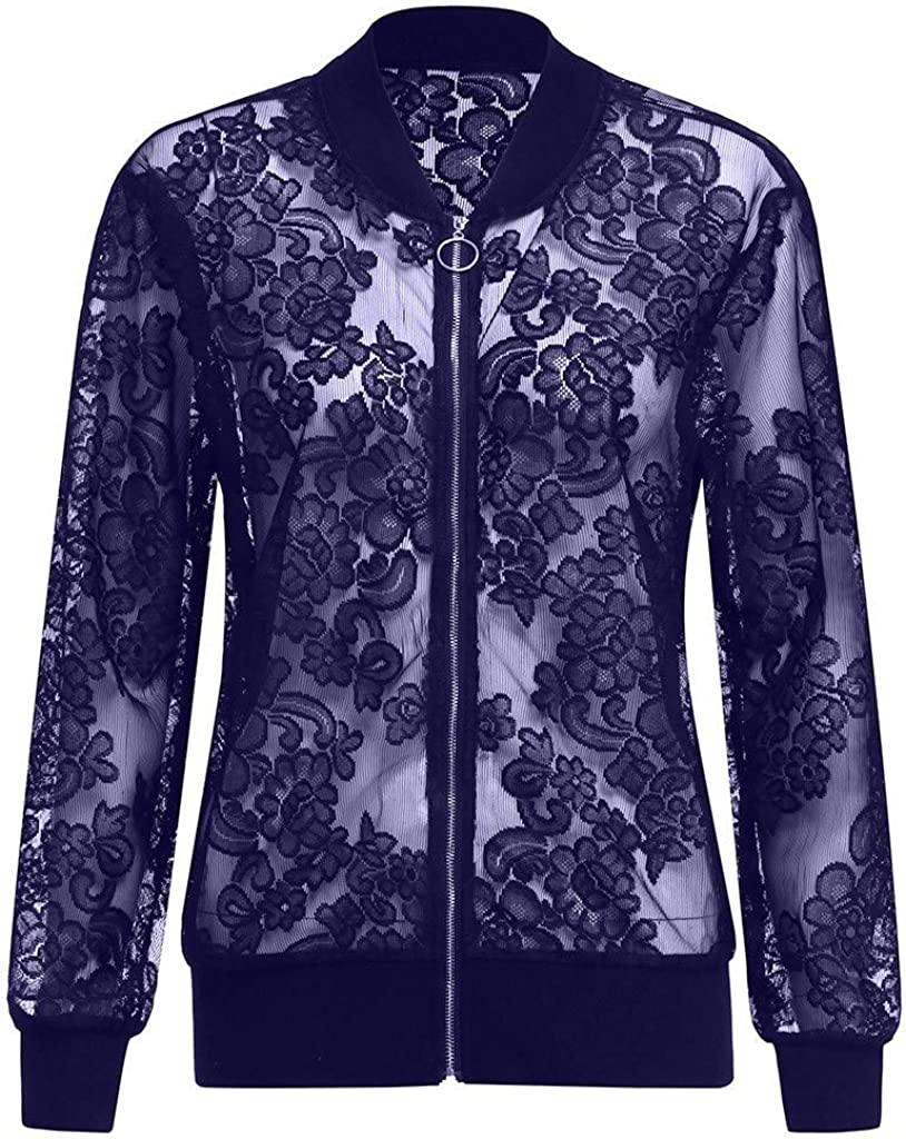 LISTHA Lace Long Sleeve Zip Up Jackets Women Short Bomber Coat Casual Outwear