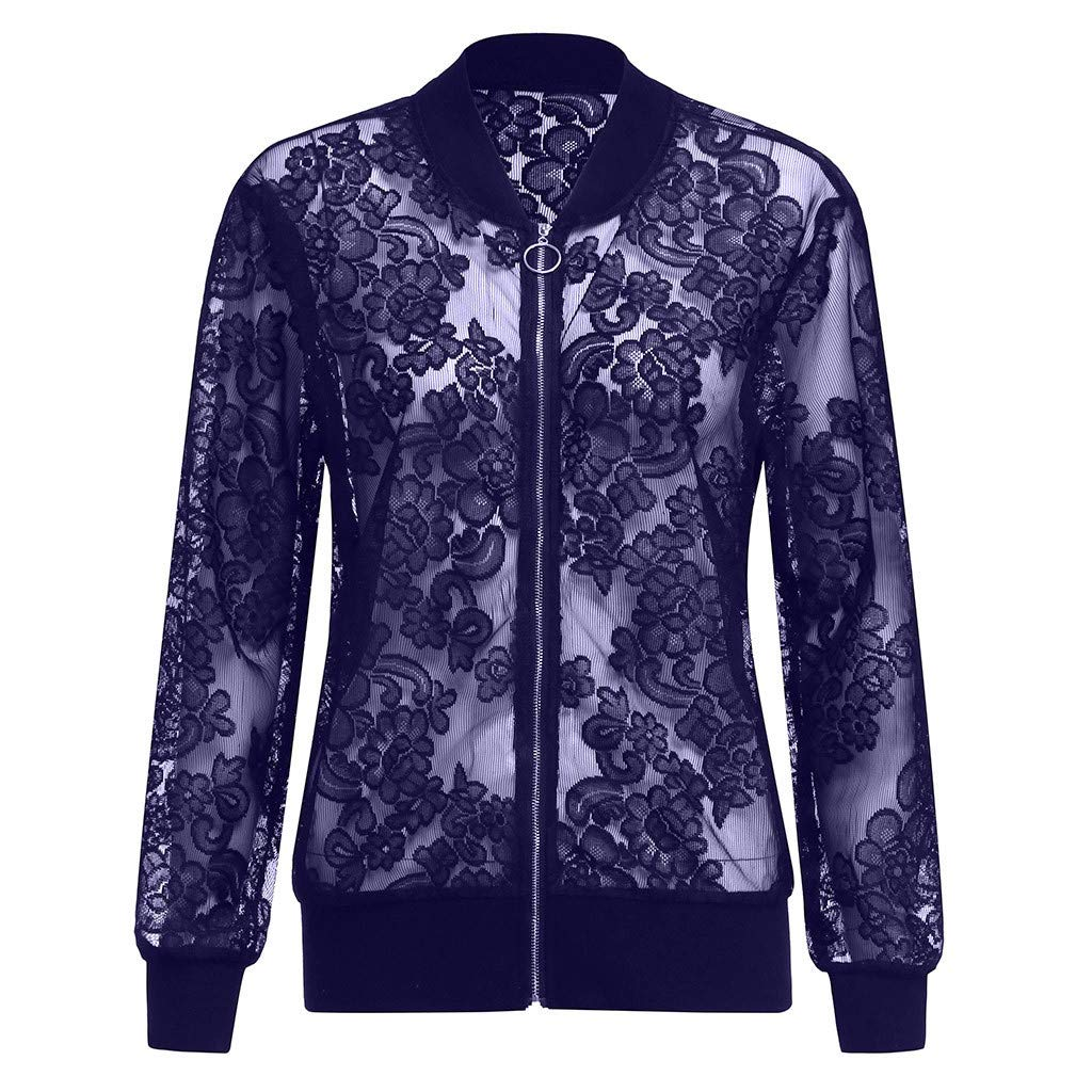 Womens Plus Size Jacket,Solid Casual Lace Loose Long Sleeve Coat,XL-5XL Fashion Style for Ladies