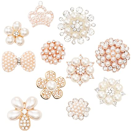 Amazon.com  22Pcs Crystal Rhinestones Pearl Buttons 9af92123829a