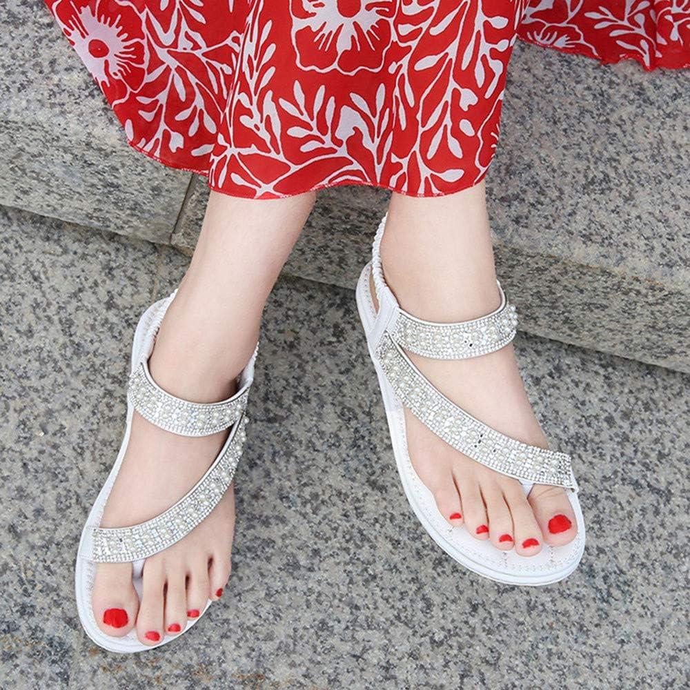 KIYOUMI Donna Sandali, Stile della Boemia a Spina di Pesce Sandali Punta Rotonda della Spiaggia di Estate di Vibrazione dei Sandali Flops Scarpe Piatto Beach White