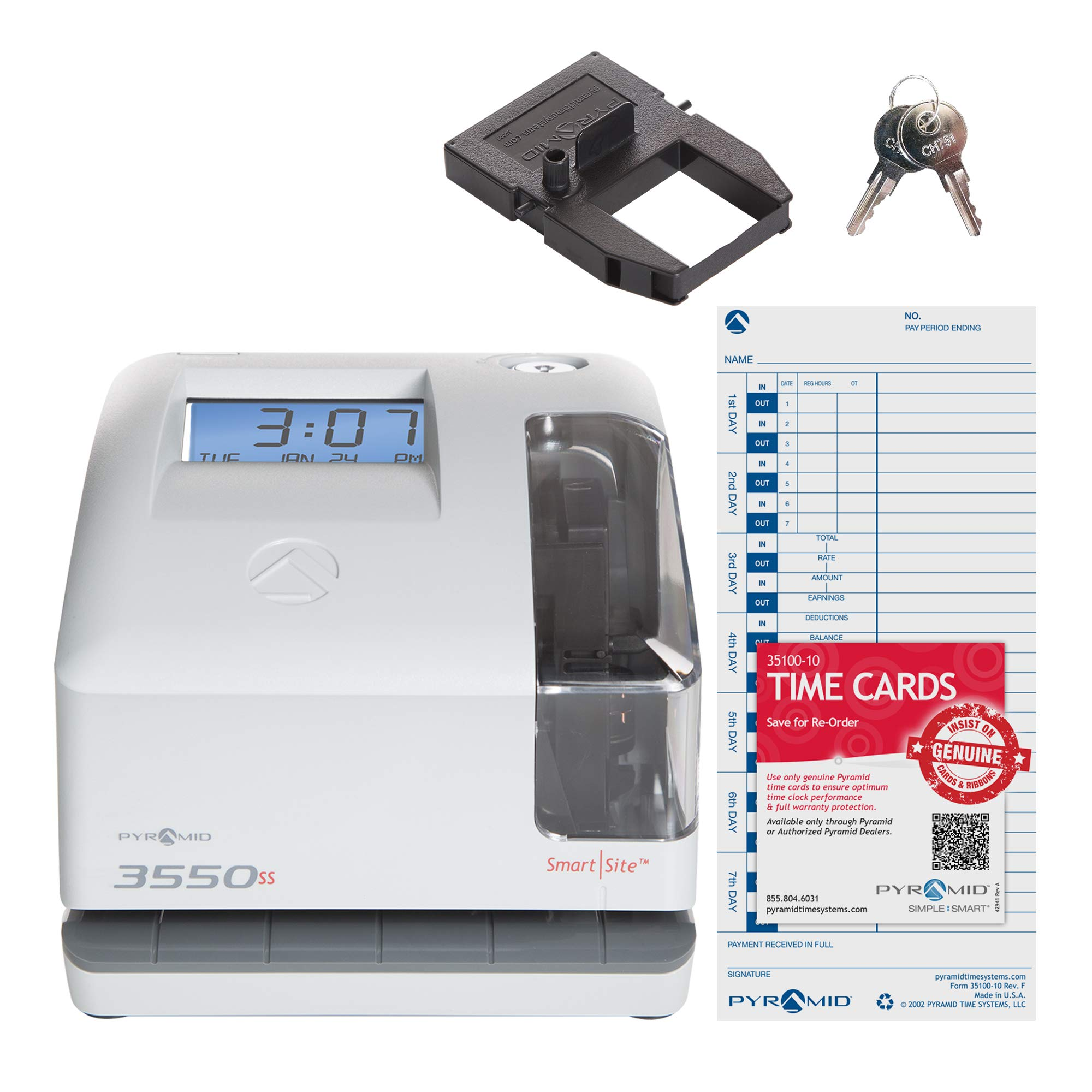 Pyramid 3550ss SmartSite Time Clock and Document Stamp - Made in USA by Pyramid Time Systems