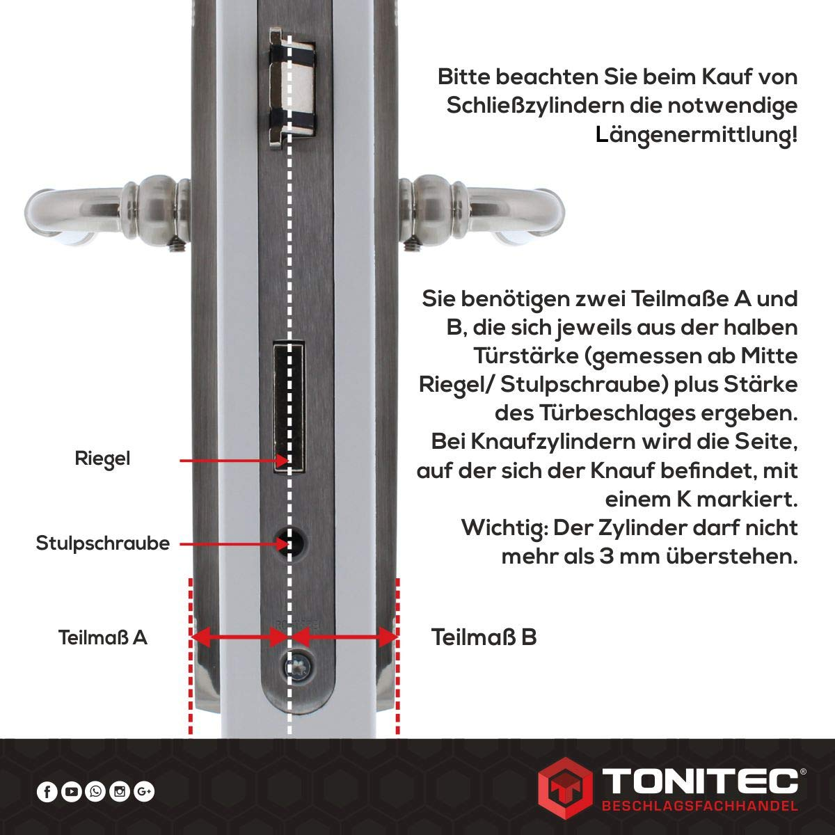 ToniTec CodeCard Gr/ö/ße 40 45 mm Schlie/ßung 2 ABUS Schlie/ßzylinder Schlie/ßanlage Zylinderschloss als Doppelzylinder gleichschlie/ßend EC550 mit 3 Schl/üssel inkl
