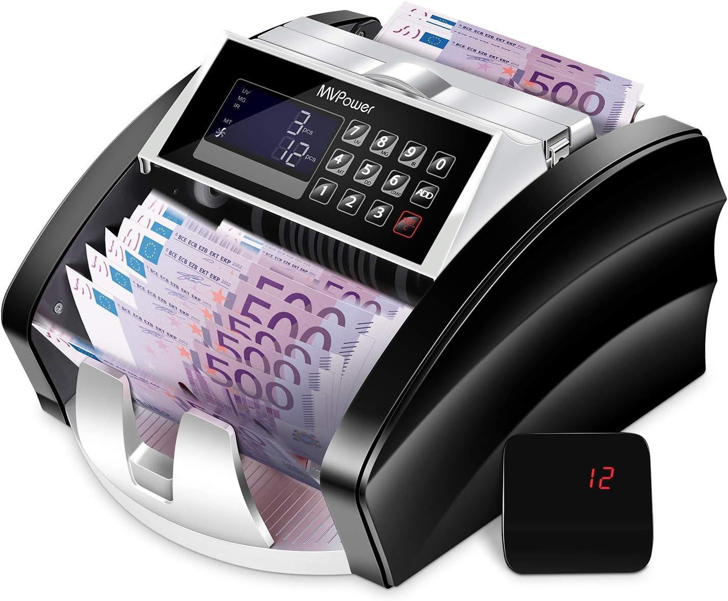 F/älschungsalarm MVPower Geldz/ählmaschine Banknotenz/ähler: automatische Z/ählung und Selbstpr/üfung farbwechselbare LCD-Anzeige genaue Erkennung mit UV//MG//IR//MT//DD Erkennung