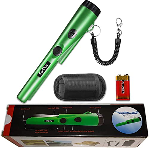 Pinpoint Metal Detector Pinpointer Waterproof – 2019 Fully Waterproof Design Metal detectors for Adults and Kids Green with Belt Holster