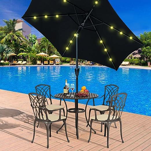 Britoniture Sombrilla de Jardín DE 2, 7 m, luz Solar LED, Parasol para Exteriores con Botón de Inclinación y manivela, Negro: Amazon.es: Jardín