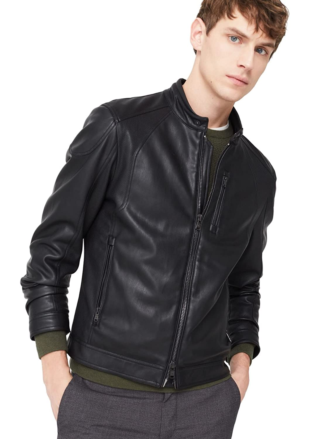 MANGO MAN - Zipped biker jacket