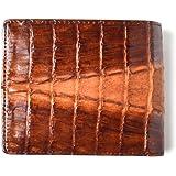 [ロダニア] RODANIA 二つ折り財布 メンズ ワニ革 クロコダイル ショートウォレット ブラウン 【CJN214SP】