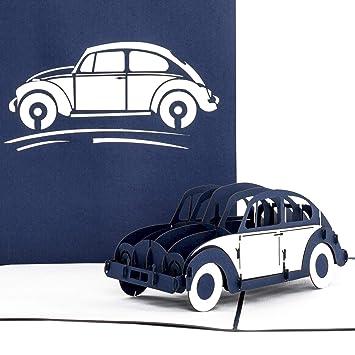 Pop tarjeta de Up VW Escarabajo Azul & Blanco - 3d Auto ...