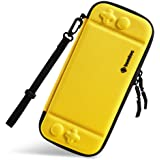 Ultra Slim Carrying Case Fit for Nintendo Switch, tomtoc Original Patent Portable Hard Shell Travel Case Pouch Protective Cover Bag, 10 Game Cartridges, Military Level Protection, Yellow