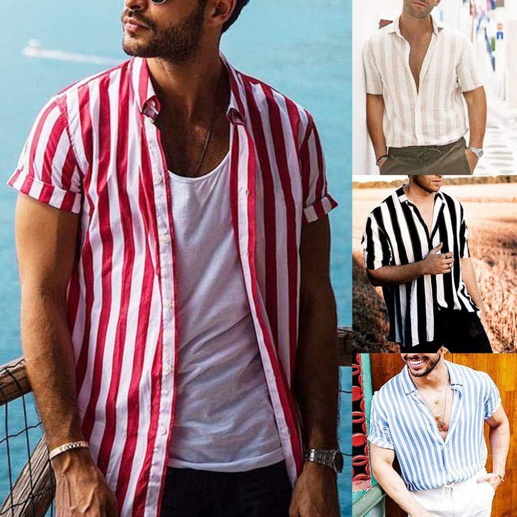 Brown L Fashion Men Summer Stripe Print Buttons Turn Down Collar Short Sleeve Shirt Top