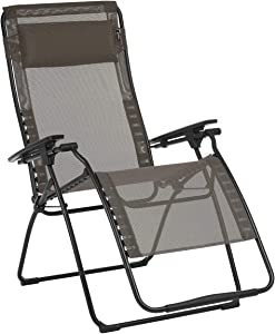 Lafuma Futura XL Zero Gravity Patio Recliner (Graphite Grey Batyline Canvas) Extra Large Outdoor Folding Lounge Chair