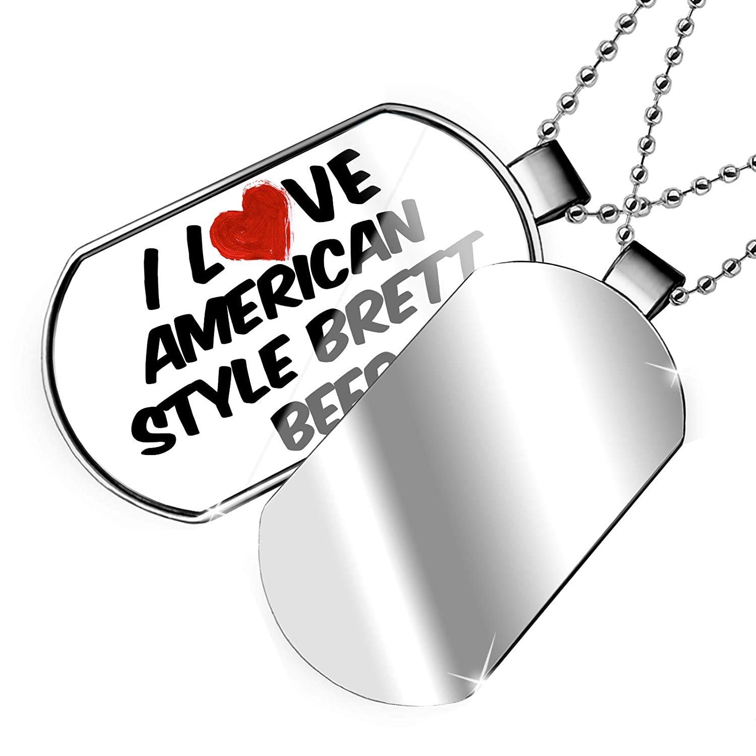 NEONBLOND Personalized Name Engraved I Love American Style Brett Beer Dogtag Necklace