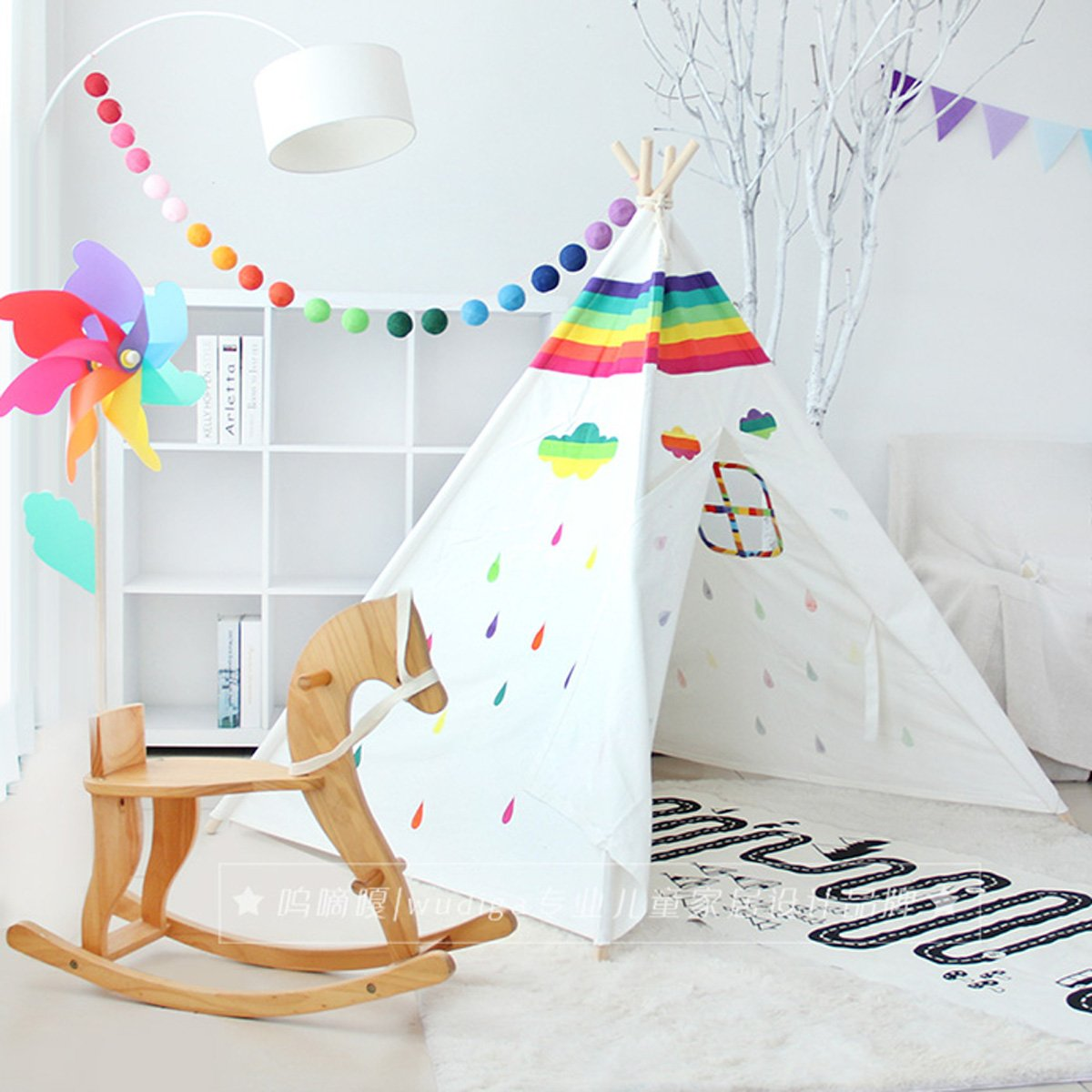 Hot selling New design Rainbow pattern children game room indian Teepee