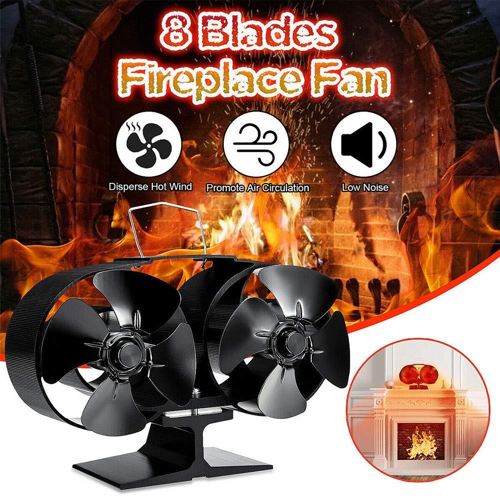 Gizayen Heat Powered Stove Fan 8 Blades Fireplace Silent Portable Heat Powered Stove Fan for Wood Log Burner Fireplace