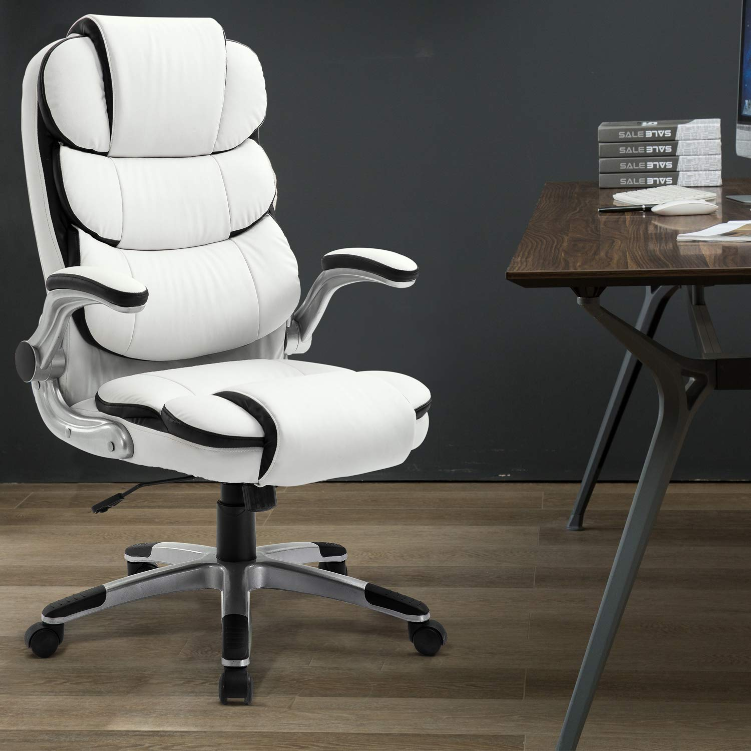 Amazon.com: YAMASORO Executive Office Chair High Back Leather Desk Chair  With Lumbar Support For Home Office Computer Chair 280lbs: Kitchen U0026 Dining