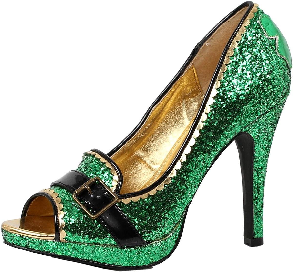 Womens Green High Heels Glitter Pumps St Pattys Day Leprechaun Shoe 4 Inch Heel