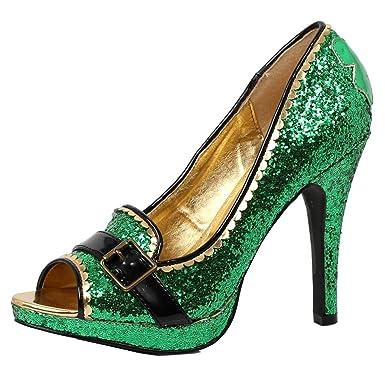 eb888bd81e45 Womens Green High Heels Glitter Pumps St Pattys Day Leprechaun Shoe 4 Inch  Heel Size