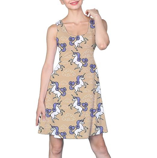COW GO GO Women s Unicorn with Rainbow and Clouds Sleeveless Dress ... e10a818f2