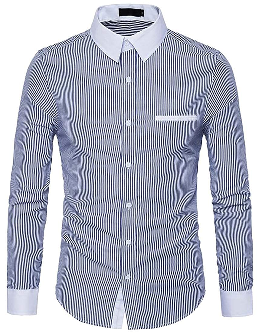 Sweatwater Mens Business Lapel Neck Striped Contrast Color Curved Hem Button Down Shirts