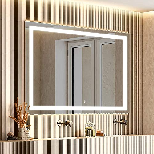 smartrun 48 X 36 LED Mirror Wall Mounted Horizontally Vertically with ONE Dimmable Memory Touch Button, Anti-fog Function – White 6000K High Lumens Lighted Vanity Mirror Anti-fog with ETL Certificati