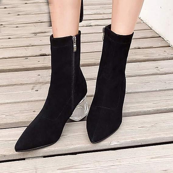 f13e2ea7e8ab5 Amazon.com: NDGDA Women High Heels Leopard Crystal Thick High Heels ...