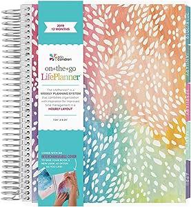 Erin Condren 2019 12 Month (Jan 2019 - Dec 2019) LifePlanner, Painted Petals- Hourly (Colorful Layout)