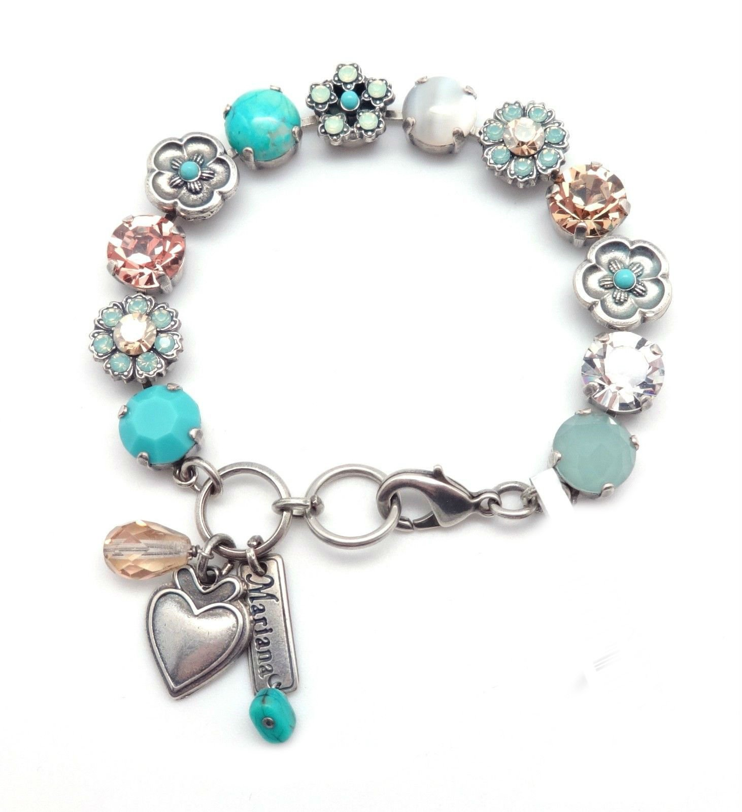 MARIANA M1042 Aqua and Simulated Mother Of Pearl Clear Swarovski Crystal Silver Plated Bracelet